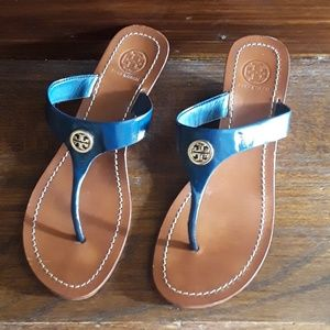 Tory Burch Navey Cameron Wedge Thong Sandal 8M